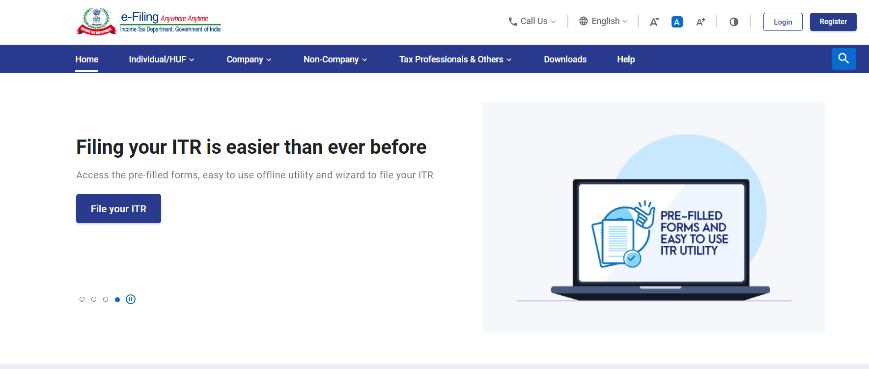 www.incometax.gov.in - Homepage