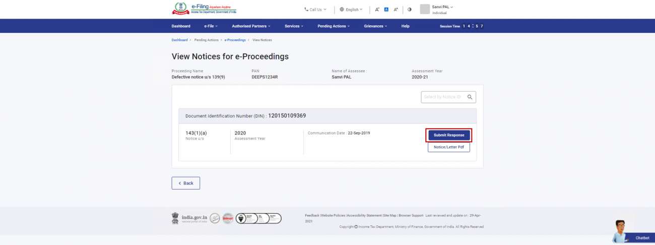 Submit Response for Defective Return Notice