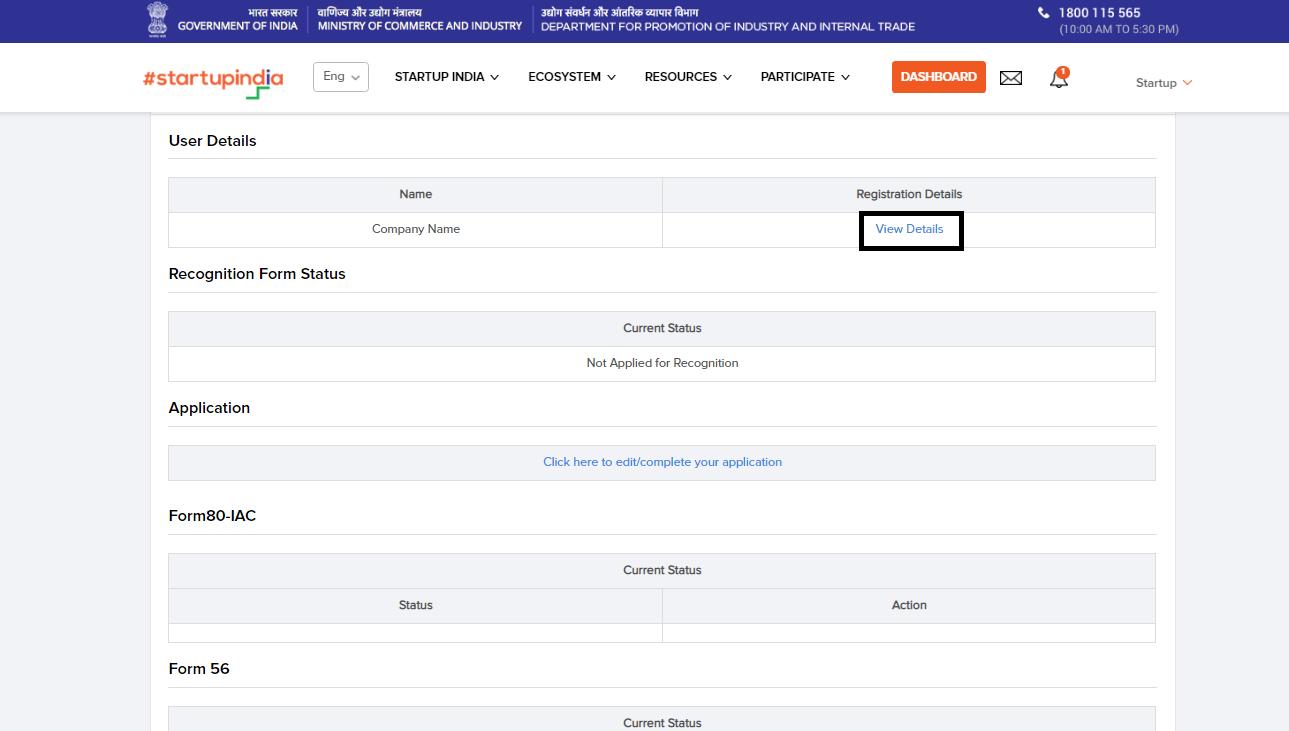 Startup-India-Profile-Entity-Details