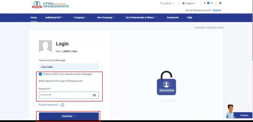 www.incometax.gov.in - Enter Password