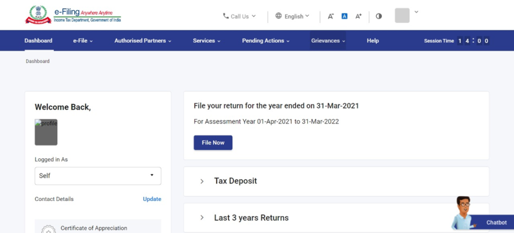 www.incometax.gov.in - Logged in Dashboard