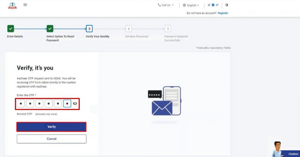 www.incometax.gov.in - Reset Password - Enter 6 digit OTP