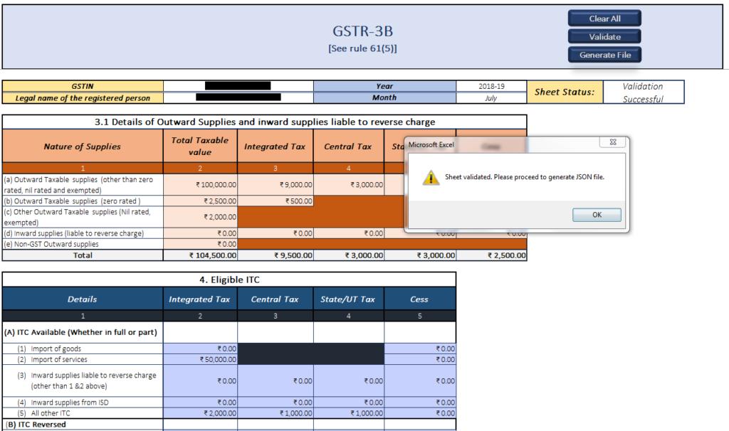 File GSTR-3B Validate Sheet
