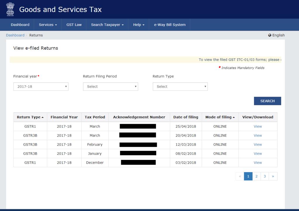 GST Return Dowload from GST portal