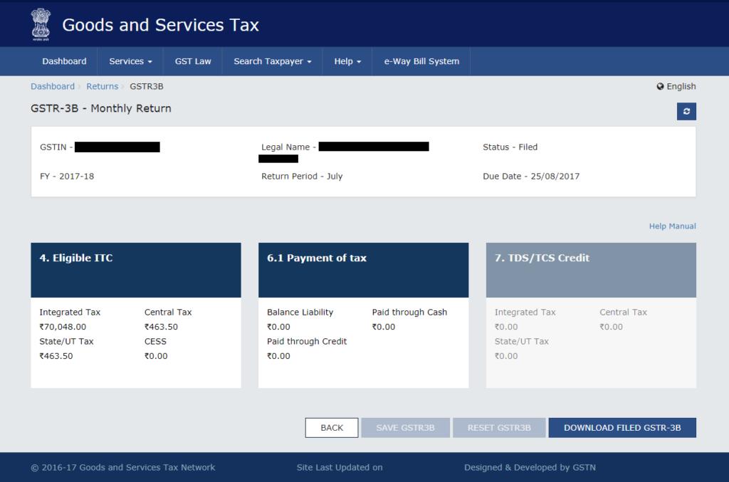 GST Return Download on GST Portal