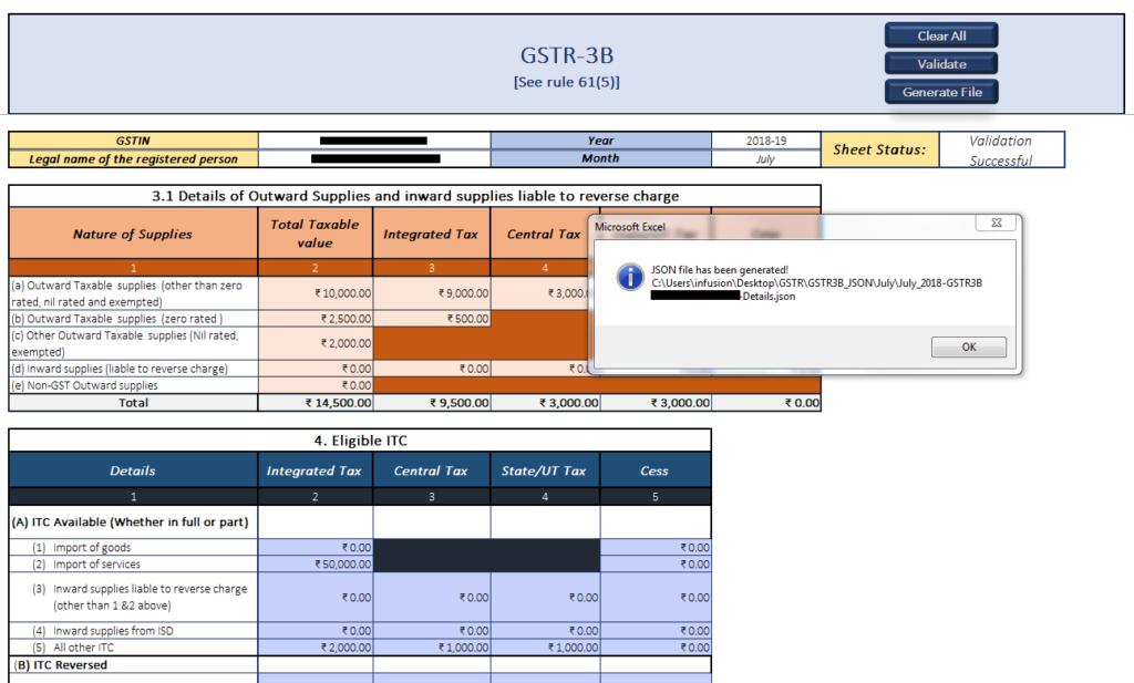 GSTR 3B-Generate-JSON