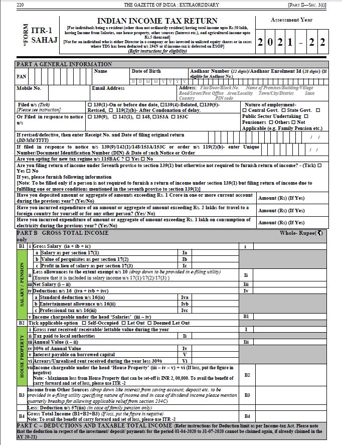 AY 2021-22 ITR 1 Sahaj form for salaried individuals