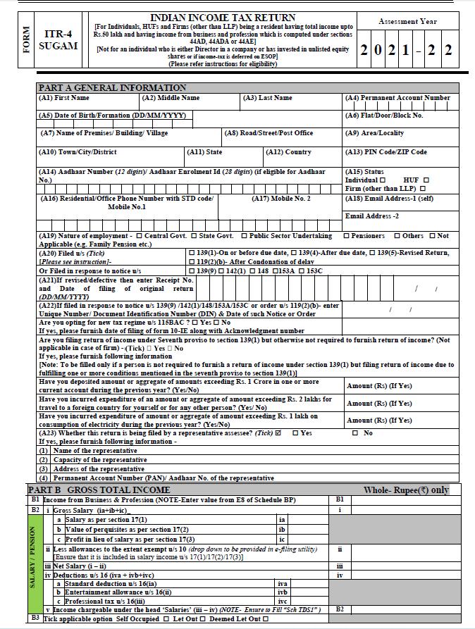 AY 2021-22 ITR 4 Presumptive Taxation Scheme