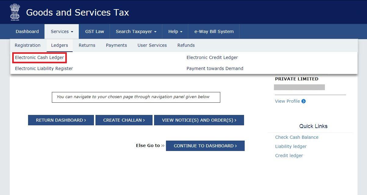 Electronic Cash Ledger - GST Portal Navigate
