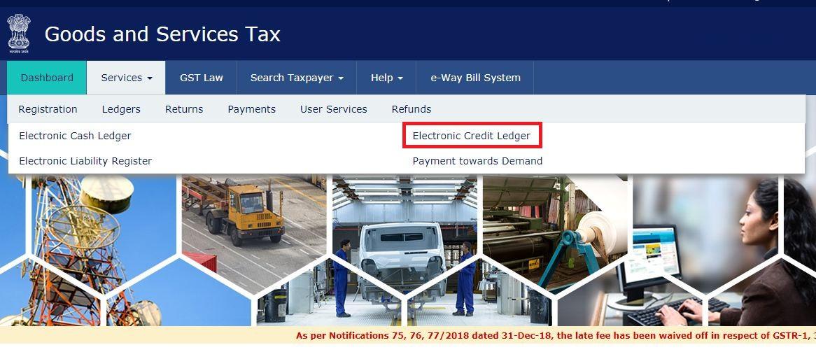 Electronic Credit Ledger - GST Portal Navigate