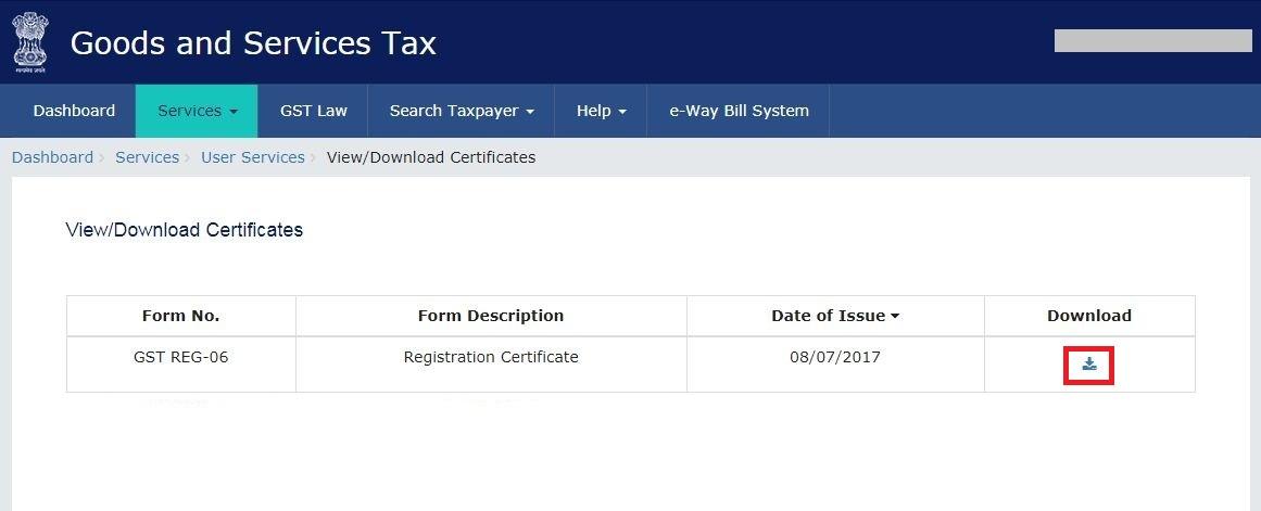 Download GST Registration Certificate - Download