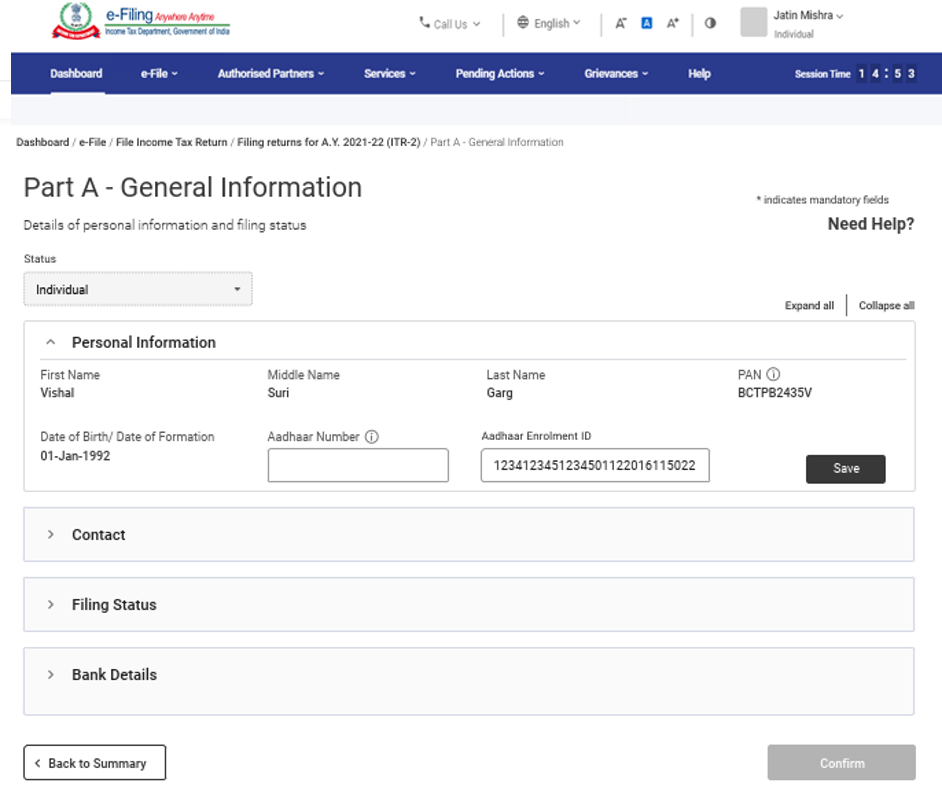 www.incometax.gov.in - General Information for ITR 2 Filing