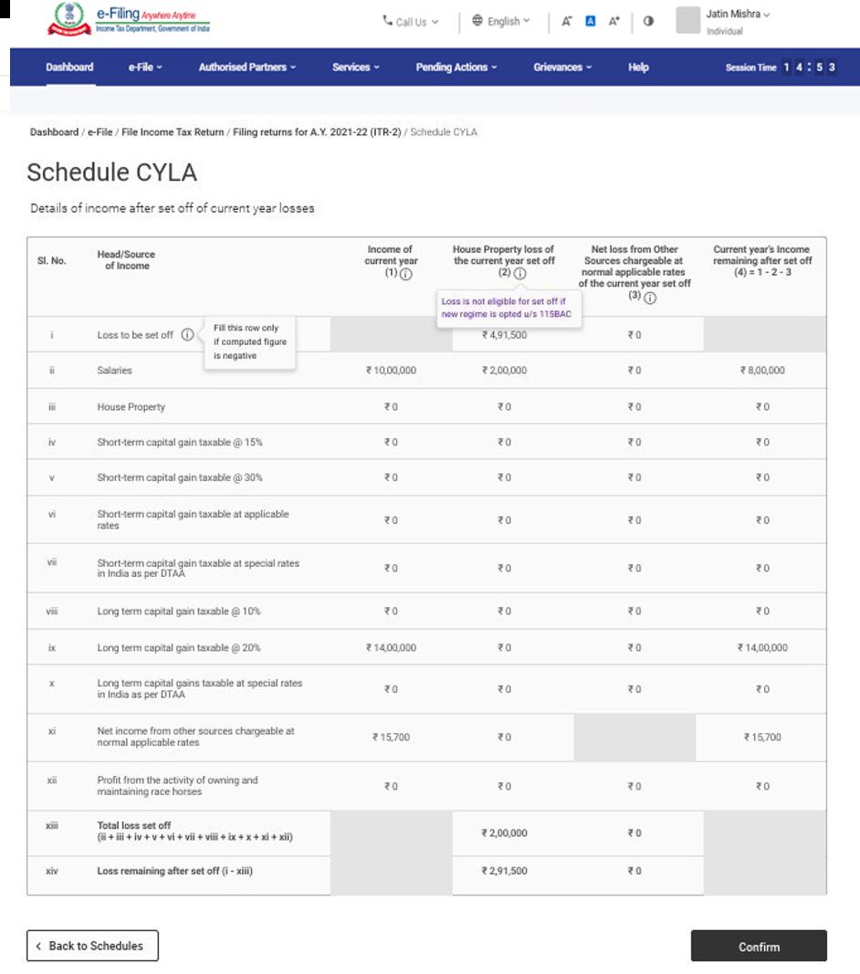 www.incometax.gov.in - Schedule CYLA