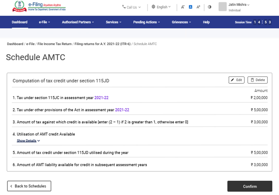 www.incometax.gov.in - Schedule AMTC