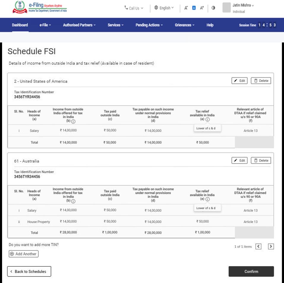 www.incometax.gov.in - Schedule FSI
