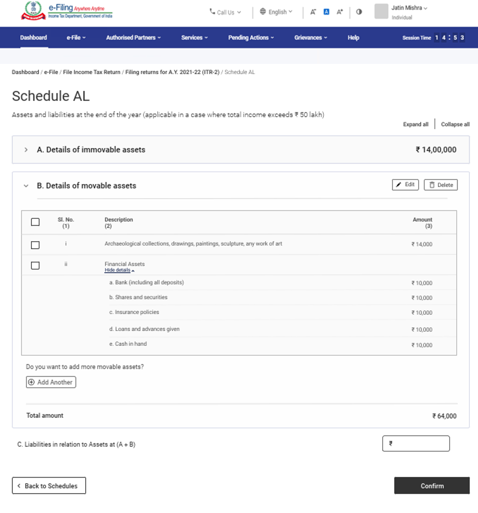 www.incometax.gov.in - Schedule AL