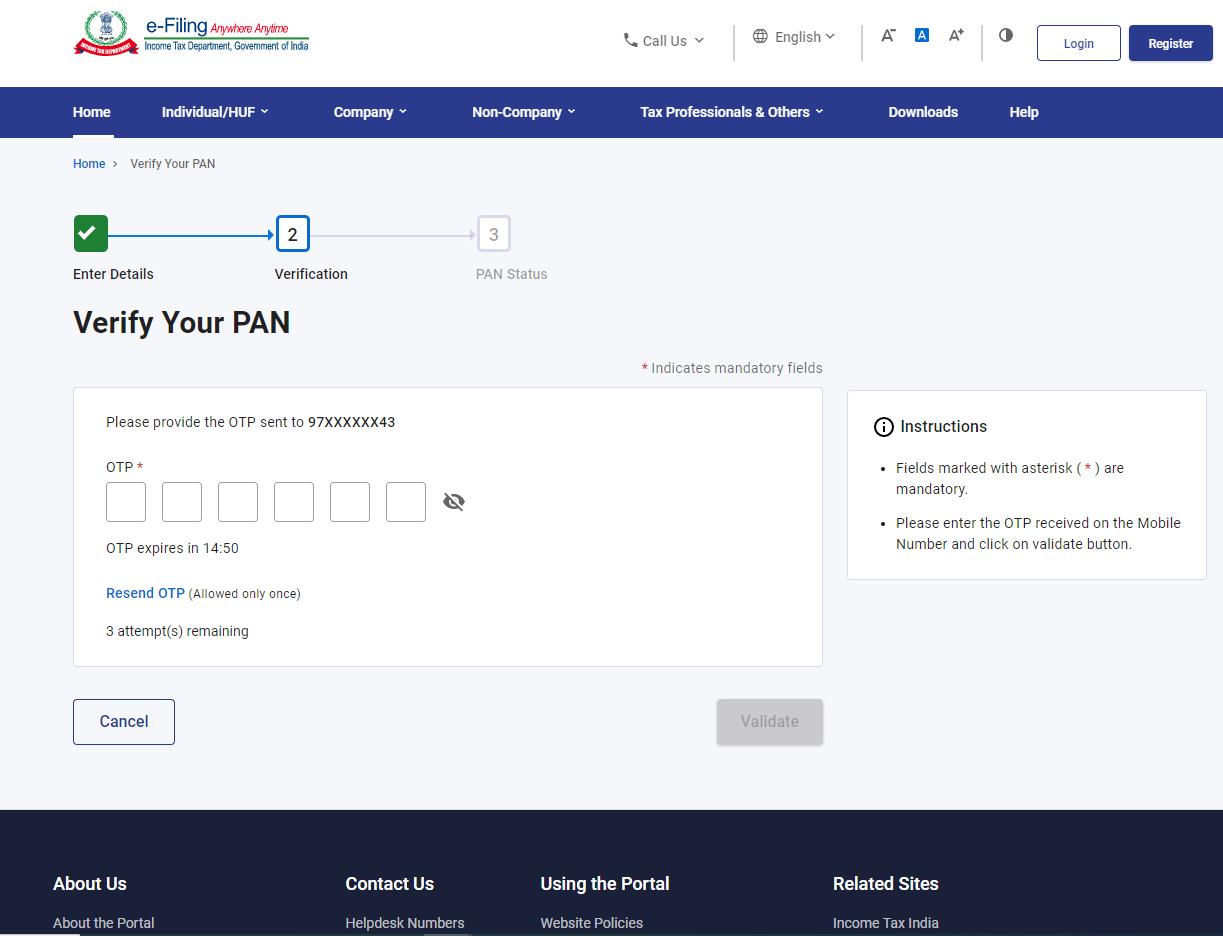 www.incometax.gov.in - OTP for Verifying PAN Details