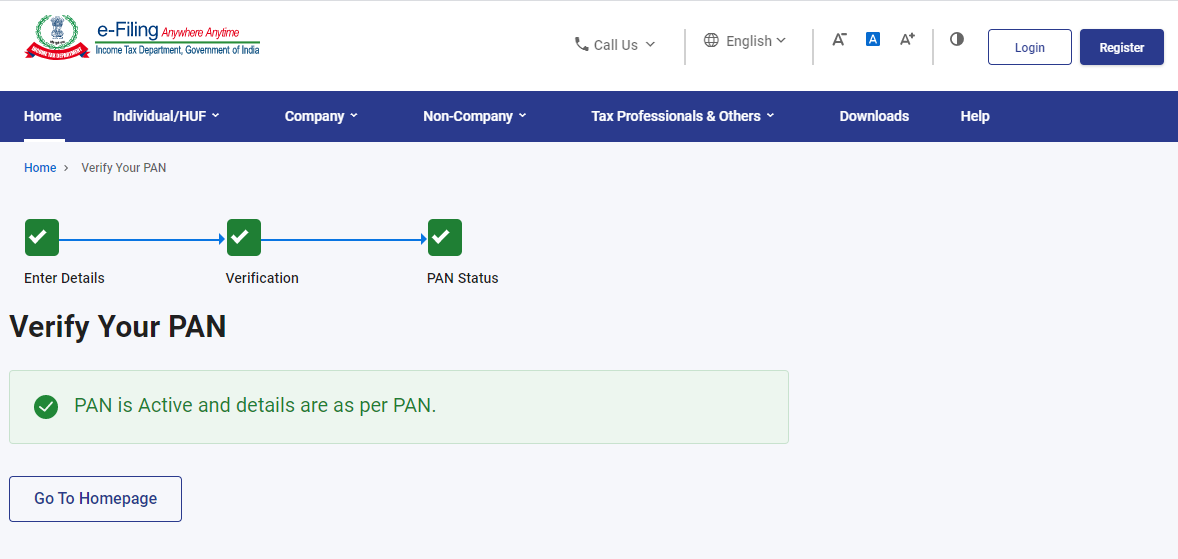 www.incometax.gov.in - PAN Verification Success Message