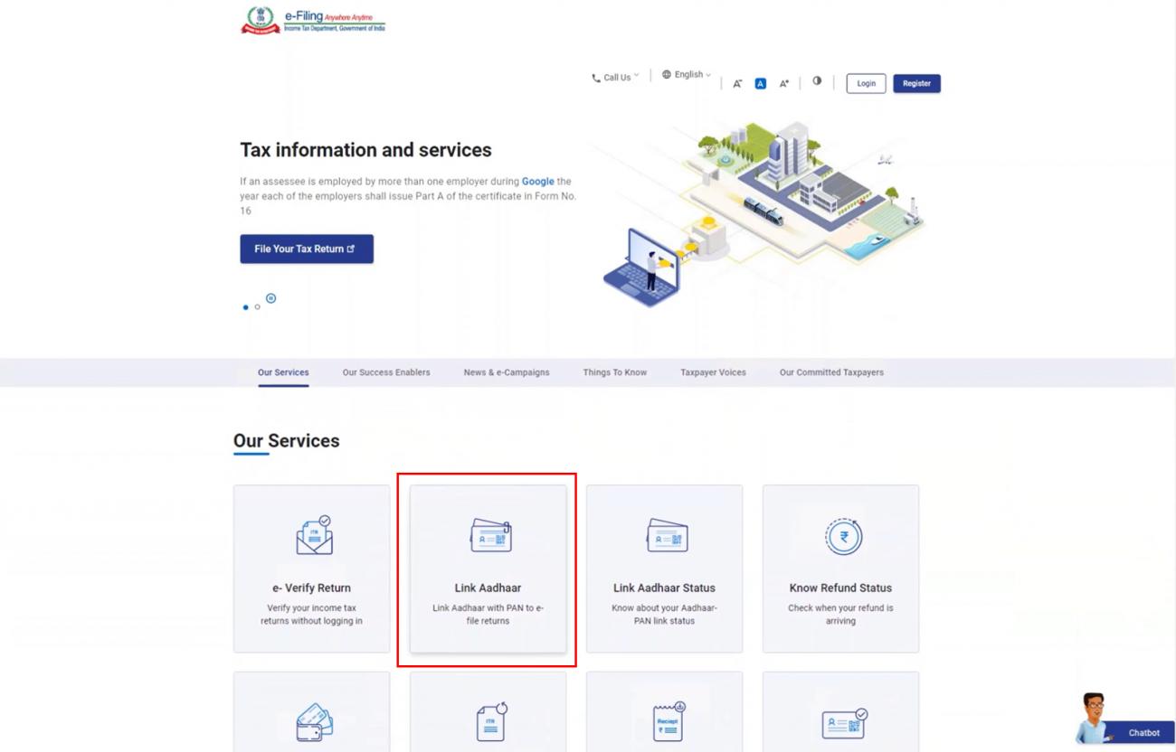 www.incometax.gov.in - Link Aadhaar Option Homepage