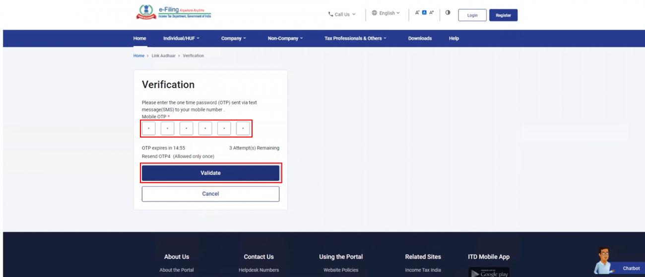 www.incometax.gov.in - Link PAN Aadhaar - Validate OTP