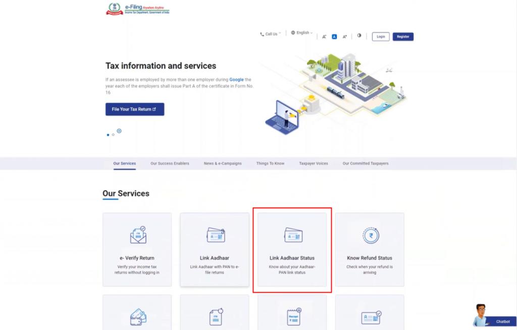 www.incometax.gov.in - PAN Aadhaar Link Status Option