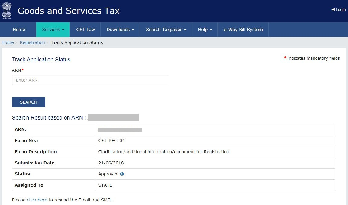 Check GST Registration Status- ARN details