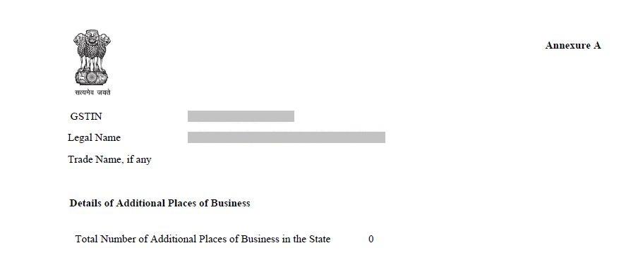 GST Registration Certificate - Annexure A