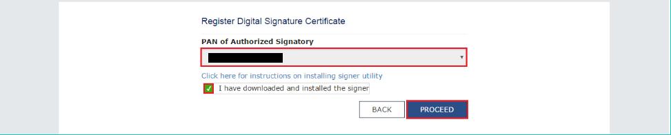 Select PAN to register DSC on GST Portal