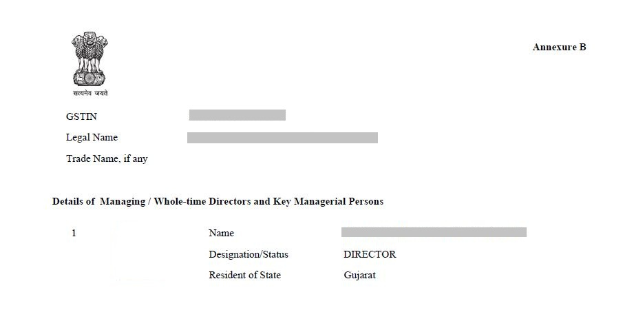 GST Registration Certificate - Annexure B