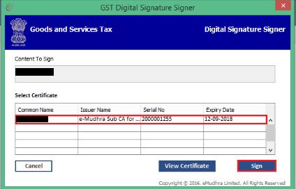 Select DSC on GST Portal