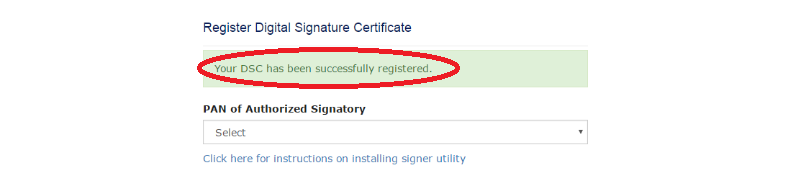 DSC Registartion GST Portal - Success message