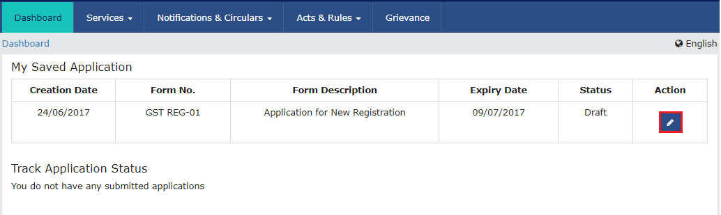GST Registration Process   GST Portal   My Saved Application