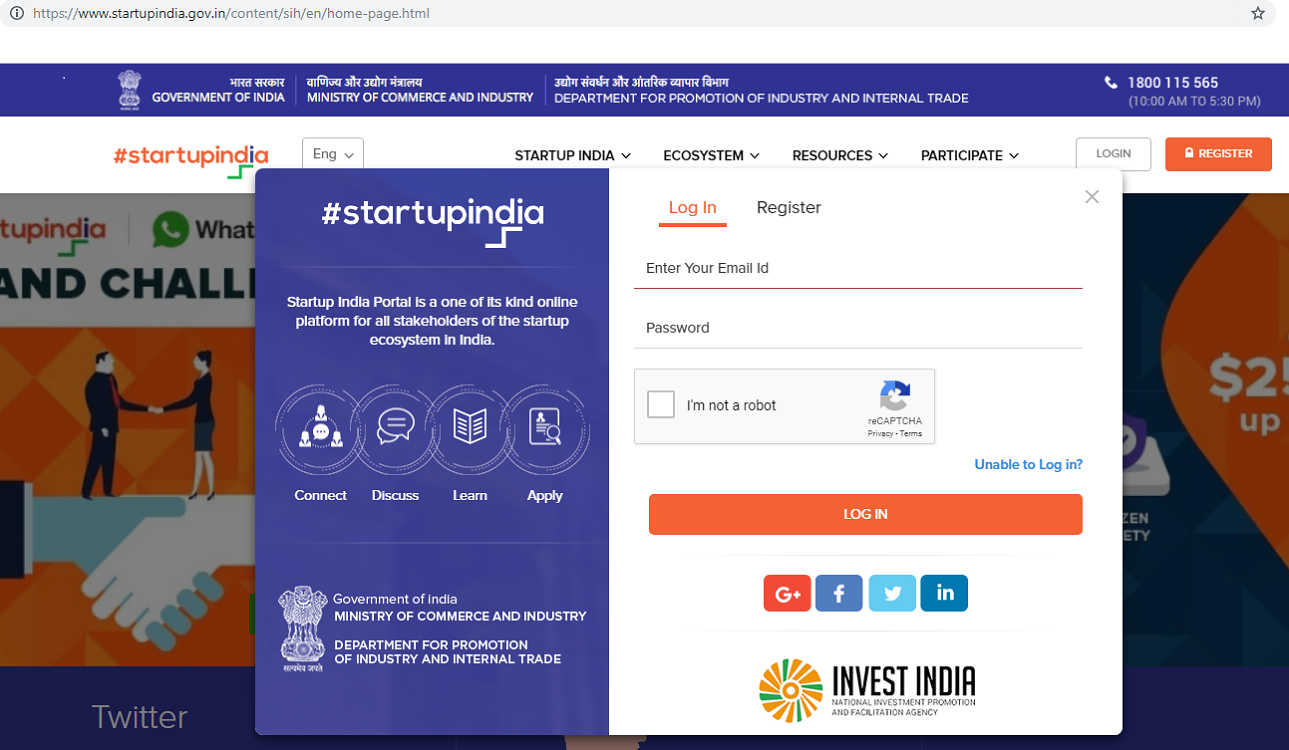 Register for Startup India-Login