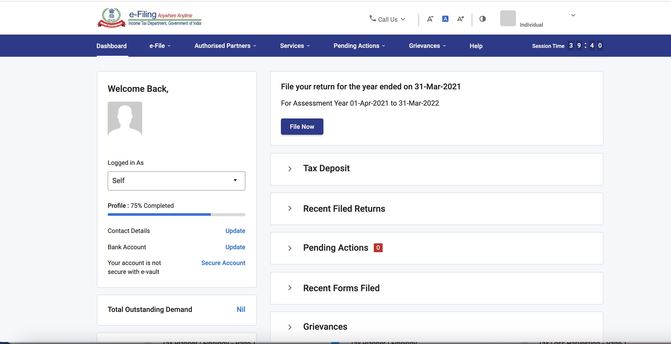 www.incometax.gov.in - Dashboard