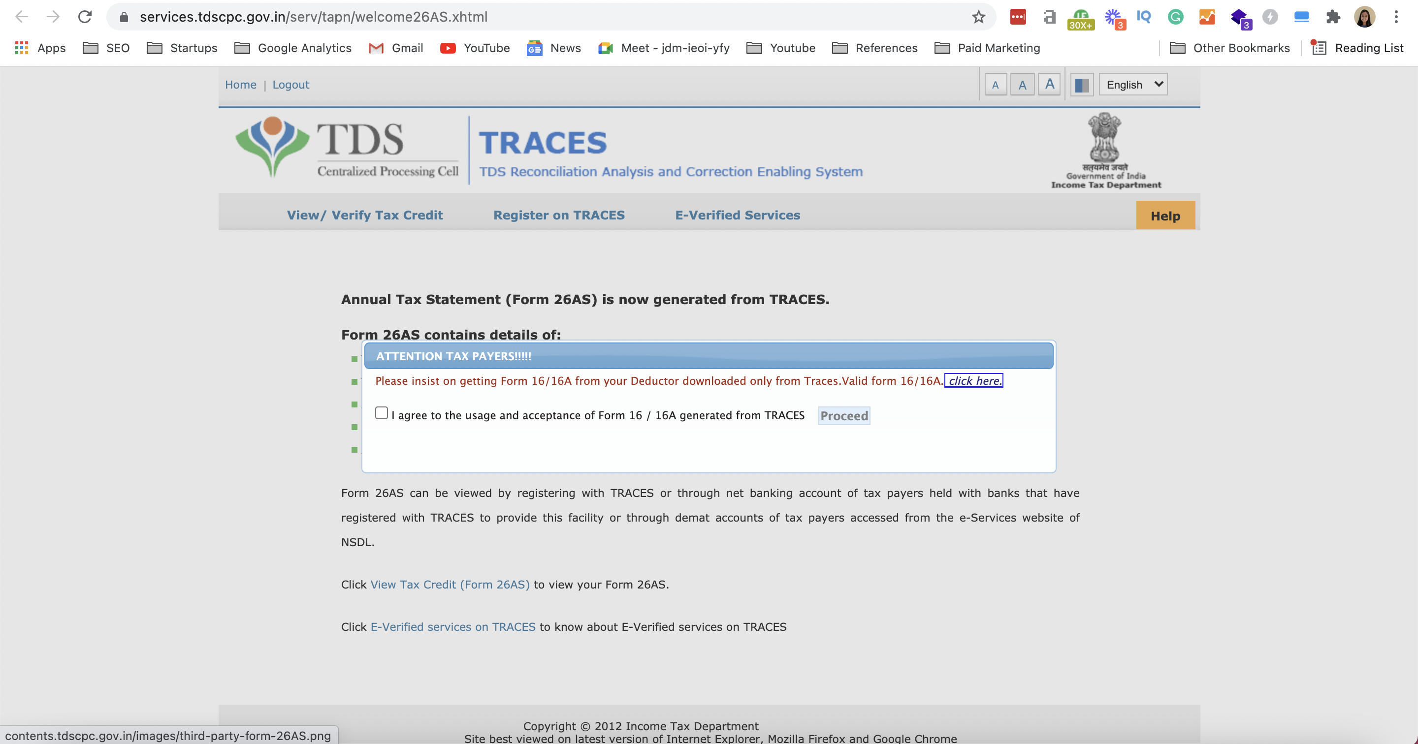 www.incometax.gov.in - TRACES Homepage