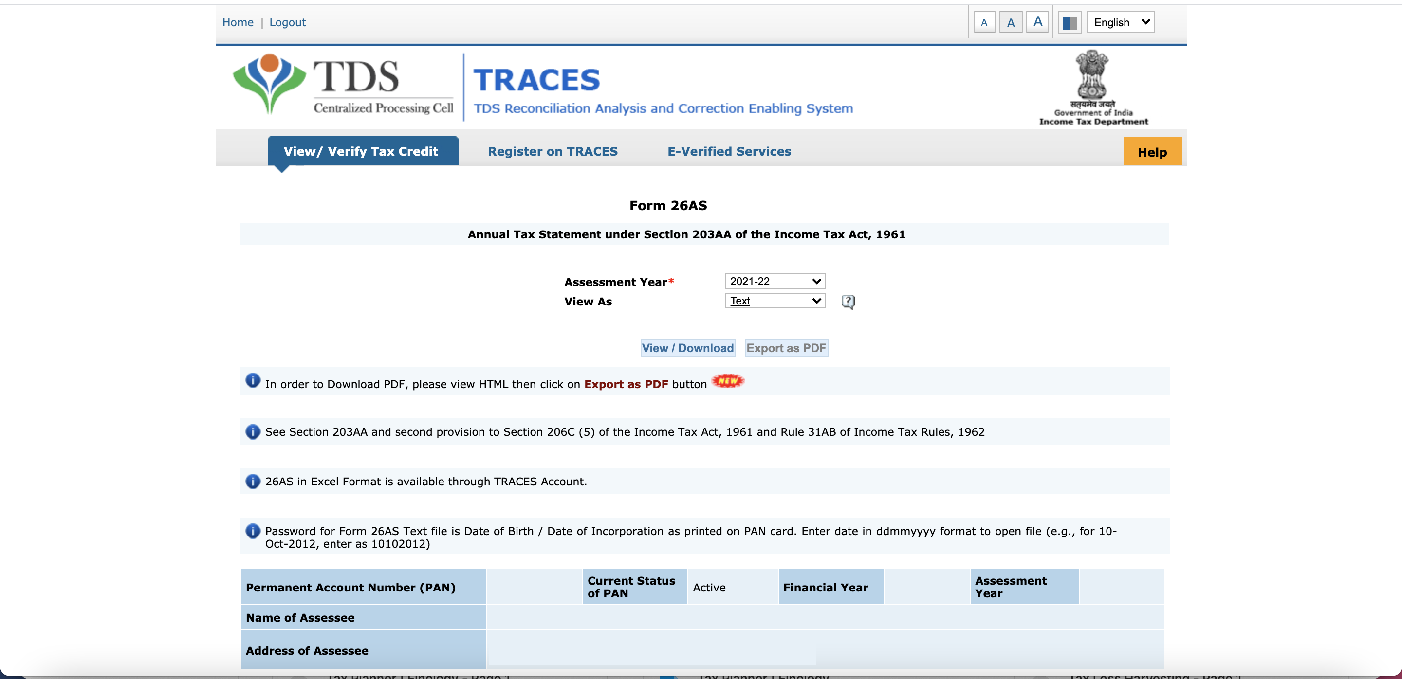 TRACES - Download Form 26AS