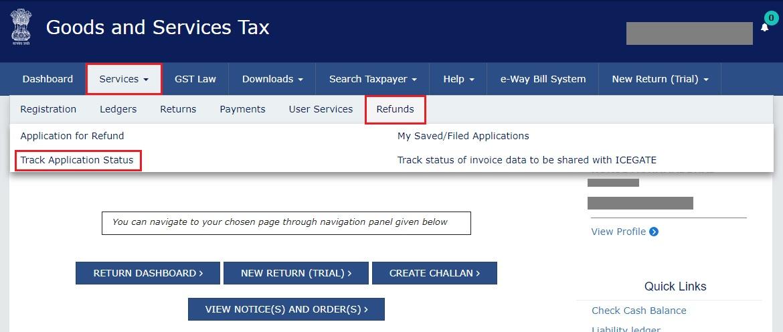 GST Refund - Navigate to Track Application Status