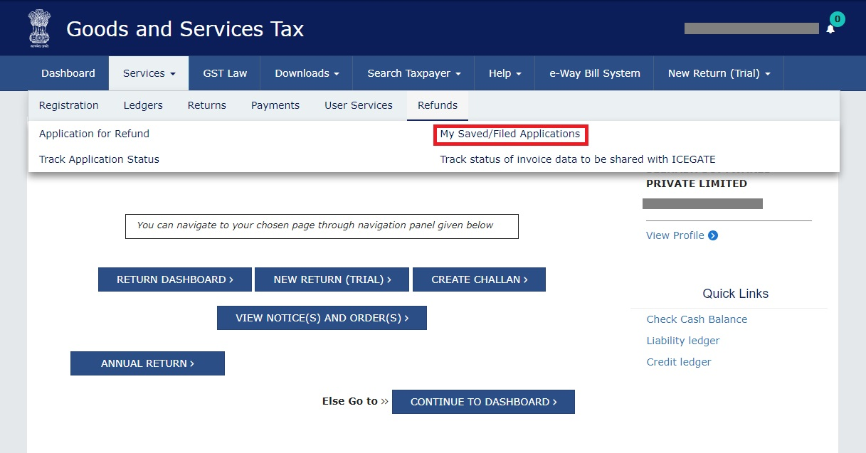 GST Refund - Navigate to Saved or Submitted Refund Application