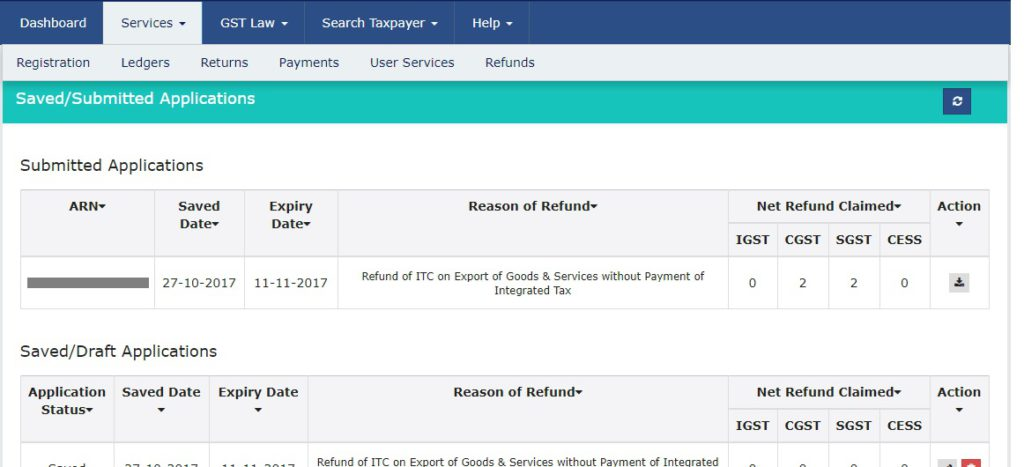 GST Refund - View Saved or Submitted Application