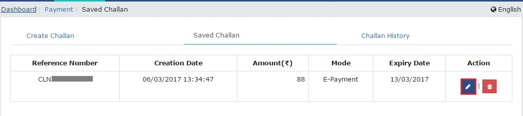 GST Challan - Saved Challans View