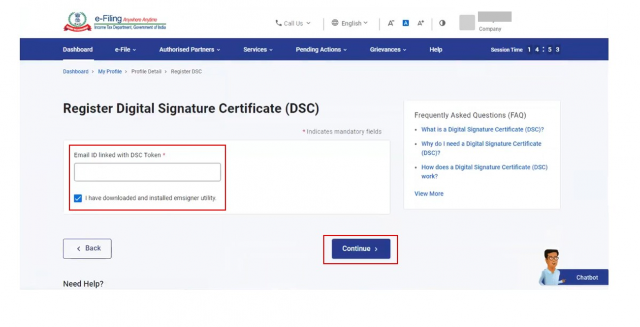 www.incometax.gov.in - email ID linked with DSC Token