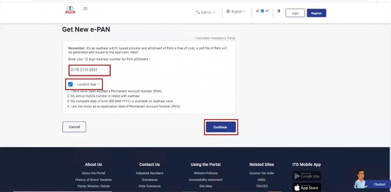 www.incometax.gov.in - Enter Aadhaar Number for e-PAN
