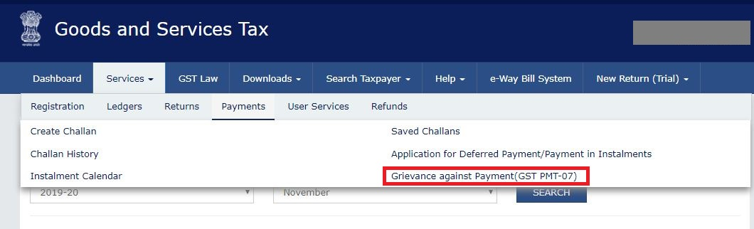 Grievance-on-GST-Portal-Navigate-to-payment-related-grievance