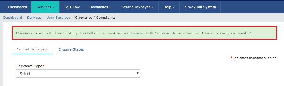 Step-6-Grievance-on-GST-Portal-Success-message