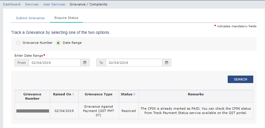 Check Grievance Status GST Search Results