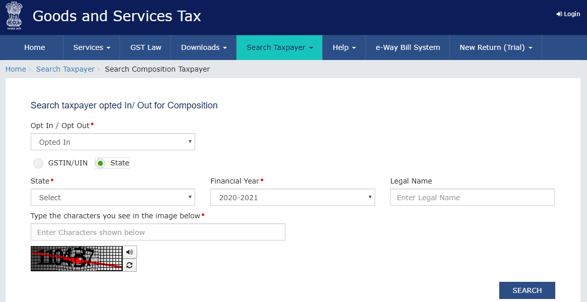 GST Portal - Search Composition Taxpayer - Enter State
