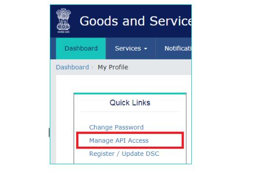 Quick Links-Manage API Access