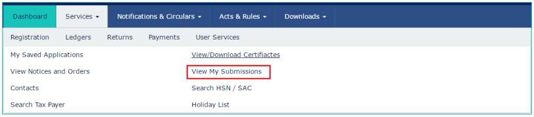 GST-Portal-Services-Tab-My-Submission