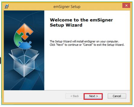 emSigner-Installation-Window