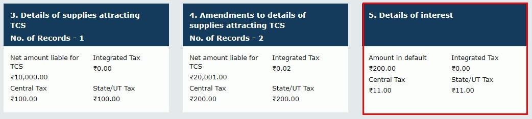 GSTR-8 - Interest details